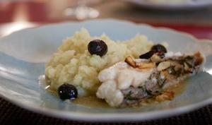 Queue de lotte au vinaigre purée au fenouil et olives de Nyons