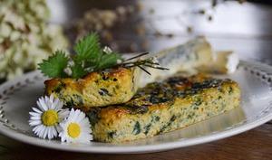 Flans aux feuilles de bettes, ortie et fromage bleu de Stilton
