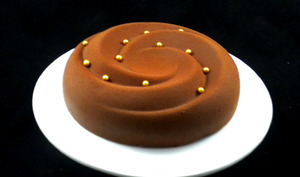 Spirale chocolatée sur brownie aux noix