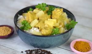Porc au curry ananas et coco
