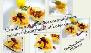 Corolles aux pommes caramélisées avec des raisins secs rhum et des baies de goji