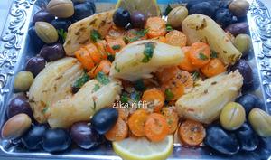 Torchi besbes et sennarya, fenouils et carottes braisés