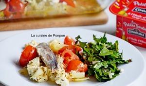 Tomates rôties à la feta et aux petites sardines