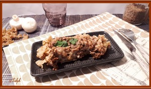 Gratin de pâtes au boeuf haché et champignons