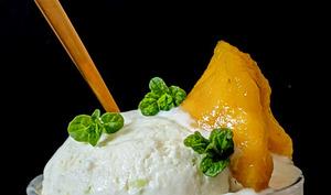 Glace Coco et tranches de mangue dans sirop de menthe.