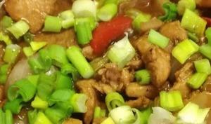 Sauté de porc aux oignons et poivron aux saveurs d'Asie