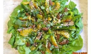 Salade à la viande grillée, au poivron et à l'orange