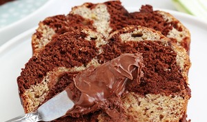 Cake banane marbré au chocolat