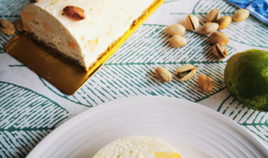 Bûche chocolat blanc, citron vert et mangue, biscuit à la pistache