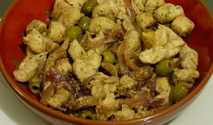 Tajine de poulet au citron confit et aux olives vertes