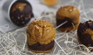 Muffins marbrés curcuma chocolat