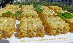 Gâteaux de coquillettes aux 3 fromages