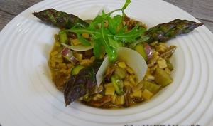 Crozets au sarrasin en risotto aux asperges vertes et aux cèpes séchés