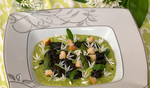Fricassée d'escargots à l'ail des ours et crème d'asperges vertes