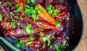Carottes et seitan à la tomate au four