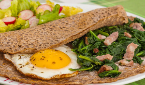 Galette bretonne œufs épinards