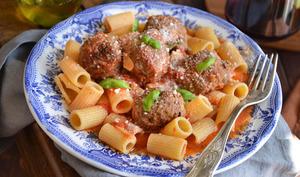 Meatballs et rigatoni
