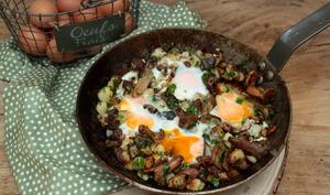 Poêlée de pommes de terre aux champignons et œufs