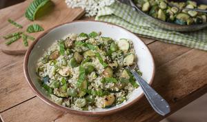 Couscous aux fèves et courgettes