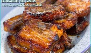 Travers de porc marinés au miel et à la moutarde