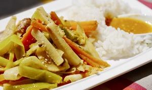 Cataplana de cuidités, riz Basmati, sauce piquante.