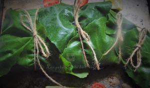 Papillote de queue de lotte en feuilles de figuier