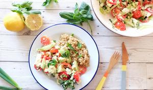 Salade concombre, tomates et tofu soyeux