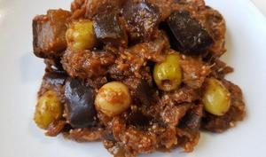 Salade cuite aubergines, tomate et olives