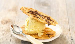 Sandwich de gaufrettes glace vanille