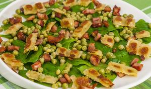 Salade de ravioles aux petits pois et épinards