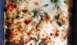 Lasagnes vertes à la bourrache avec farce veggie