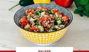 Salade de tomates, concombres et couscous, façon taboulé