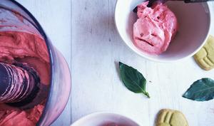 Sorbet aux fraises et au basilic minute