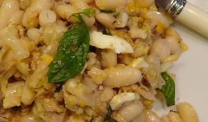 Salade de haricots blancs au thon et anchois