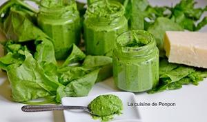 Pesto aux feuilles d'épinard et spiruline