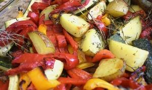 Légumes rôtis au thym et romarin
