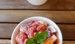 Tartare de concombre, melon et pastèque