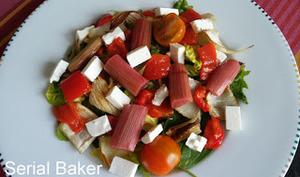Salade rhubarbe, poivron, fenouil et feta
