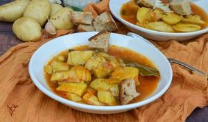 Bouillon safrané de pommes de terre nouvelles façon bouillabaisse