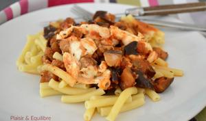 Pâtes aux aubergines et mozzarella