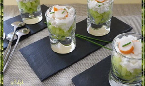 Verrines de surimi au concombre