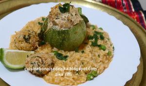 Courgette ronde farcie au veau et risotto aux boulettes et petits pois