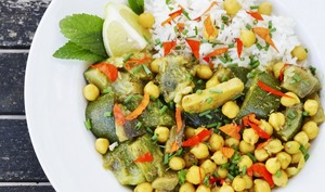 Curry d'aubergines et courgettes