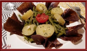 Salade de haricots verts à la viande de grison