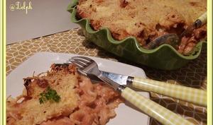 Gratin de pâtes au blanc de dinde et à la mozzarella