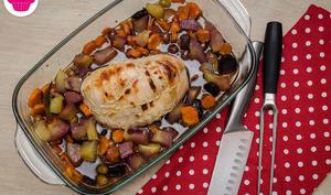 Rôti de dinde, carottes, olives