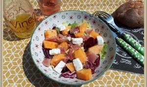 Salade feta jambon cru et melon