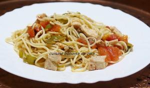 Spaghetti à la provençale anchois poulet