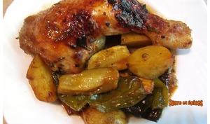 Cuisses de poulet grillées aux légumes