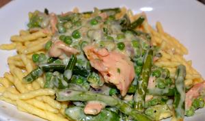 Pâtes Au Saumon Et Légumes Verts